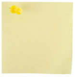 Yellow note pad with yellow pin Stock Image