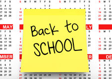 Yellow Note Paper with Back to School Sign over Calendar. 3d Ren Stock Photos
