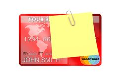 Yellow Note Paper with Blank Space for Your Design over Bank Cre Royalty Free Stock Images