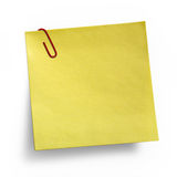 Yellow Note with paper clip Royalty Free Stock Image