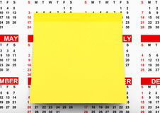 Yellow Note Paper over Calendar. 3d Rendering Stock Photography