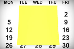 Yellow Note Paper over Calendar. 3d Rendering Stock Photo
