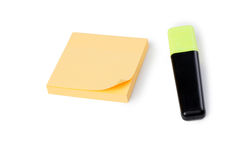 Yellow note paper and pen Stock Photography