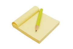 Yellow note paper and pencil Stock Photography