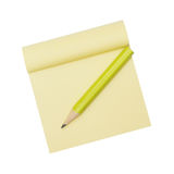 Yellow note paper and pencil Royalty Free Stock Photo