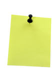 Yellow note paper with pushpin Stock Photos
