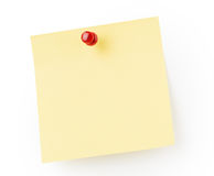 Yellow note paper. Red pin Royalty Free Stock Photos