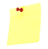 Yellow note paper. Red pin Stock Photo