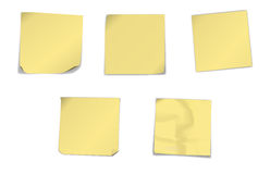 Yellow note papers Royalty Free Stock Photo