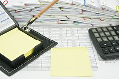 Yellow note and pencil with calculator Royalty Free Stock Photo