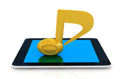 Yellow note on the phone Royalty Free Stock Photography