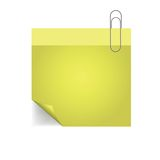 Yellow note with pin with paper pin Royalty Free Stock Photography