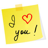 Yellow note with red heart Royalty Free Stock Photography
