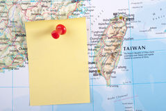 Yellow Note and red pin on map. Of Taiwan royalty free stock photography