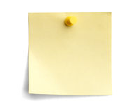 Yellow note with yellow pin Royalty Free Stock Images