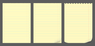 Yellow notepad sheets Stock Images