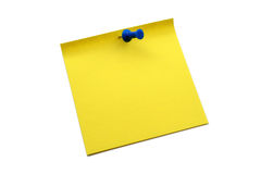 Yellow notepaper with pin Stock Images