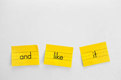Yellow Notes. Three yellow notes on a white wall Royalty Free Stock Image