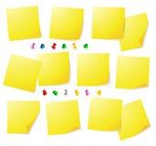 Yellow notes. And thumbtack illustration stock illustration