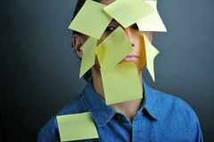 Yellow notes face Royalty Free Stock Images