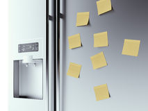 Yellow notes on fridge background Royalty Free Stock Photos