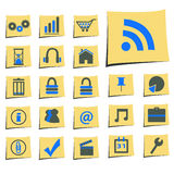 Yellow notes with web Icons Stock Photo