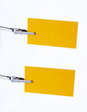 Yellow notice-card on clip. Two yellow notice-cards on metal-clip royalty free stock photo