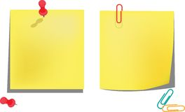 Yellow notice papers isolated on white Royalty Free Stock Images