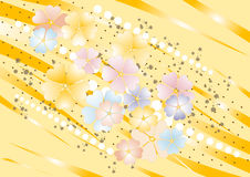 Yellow nuance background with flowers. Background. Abstract yellow nuance background with  painted  flower. Background. Wallpaper Stock Images