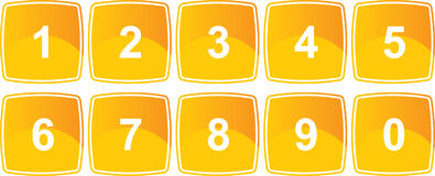 Yellow number buttons Royalty Free Stock Images