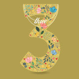 Yellow Number Three with Floral Decor and Necklace royalty free stock photo