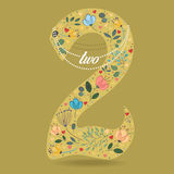 Yellow Number Two with Floral Decor and Necklace Royalty Free Stock Photography