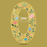 Yellow Number Zero with Floral Decor and Necklace Royalty Free Stock Images