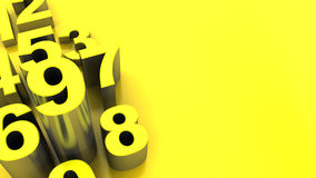 Yellow numbers background. Abstract 3d illustration of yellow numbers background Royalty Free Stock Images