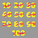 Yellow numbers with red ribbons anniversary Royalty Free Stock Photo