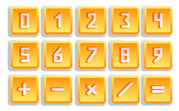Yellow Numeric Button Set. Isolated - vector illustration stock illustration