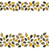 Yellow oak leaves double horizontal border Royalty Free Stock Photo