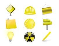 yellow objects icon set illustration design Royalty Free Stock Photo