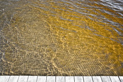Yellow ocean water. Discolored by clean sediments from the Atran river nearby royalty free stock photography
