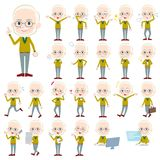 Yellow Ocher knit old man White_1. Set of various poses of Yellow Ocher knit old man White_1 Stock Images