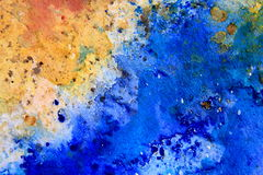 Yellow Ochre with Blue Watercolor Textures 6 Royalty Free Stock Photo