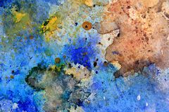 Yellow Ochre with Blue Watercolor Textures 5 Stock Photos