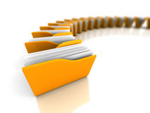 Yellow Office Document Folders On White Background. 3d Render Illustration Royalty Free Stock Photo