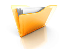 Yellow Office Document Paper Folder With Reflection Royalty Free Stock Images