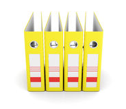 Yellow office folder, front view. Ring binders. 3d rendering. Yellow office folder, front view  on white background. Ring binders. 3d rendering Stock Photo