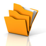 Yellow office paper document folders on white background. 3d render illustration Stock Photos