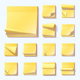 Yellow office sticky memory notes vector illustration sticker paper adhesive information memo blank. Stock Photography