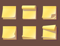 Yellow office sticky memory notes vector illustration sticker paper adhesive information memo blank. Business office notice reminder notepaper sheet. Memory Royalty Free Stock Image