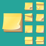 Yellow office sticky memory notes vector illustration sticker paper adhesive information memo blank. Business office notice reminder notepaper sheet. Memory Royalty Free Stock Images