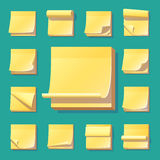 Yellow office sticky memory notes vector illustration sticker paper adhesive information memo blank. Stock Photo